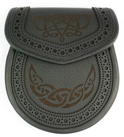 Celtic Knot Brouged Black Leather Sporran