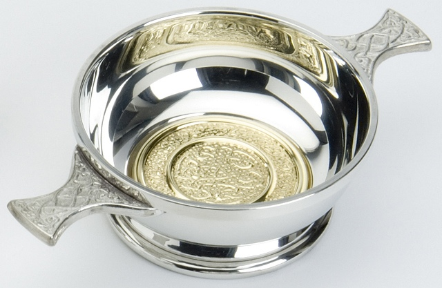 Celtic Knot Quaich with Brass Insert