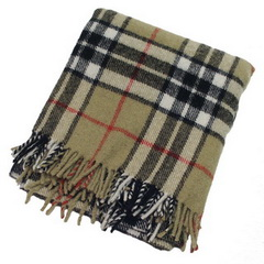 Thompson Camel Tartan Large Blanket